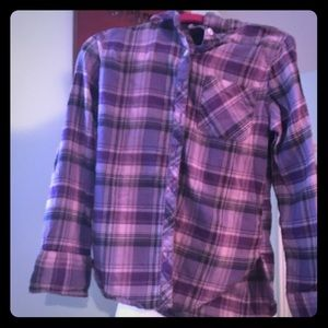 Girls flannel button up with back embroidery